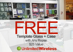 Free Template Glass + Case with Any Phone Repair ($25 Value)